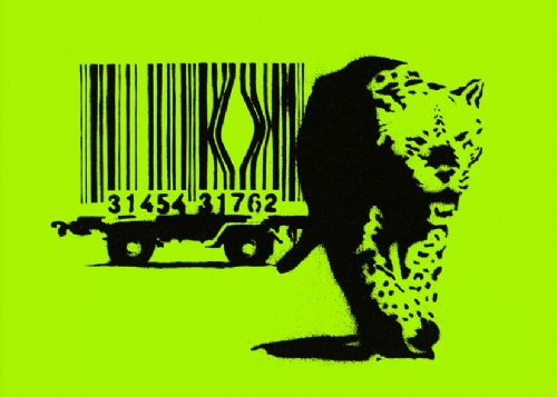 BANKSY - Escape the bar code - Lime GREEN canvas print - self adhesive poster - photo print
